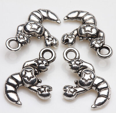 New 10Pcs Tibet Silver Women Star Print Shrimp Charms Jewelry Making DIY 16X11MM