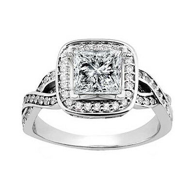2.25 ct. TW Princess Cut Diamond Engagement Ring with Twisted Shank in Platinum