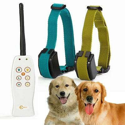 Rechargeable 2 Dog Shock Training Collar w/ Individual Vibration For Each Dog