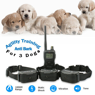 Rechargeable Waterproof LCD 100LV Level Shock Vibra 1KM RF 3Dogs Training Collar