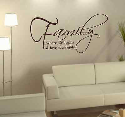 DIY Family Where Life Begins Vinyl Wall Art Quote Home removable Sticker Decal
