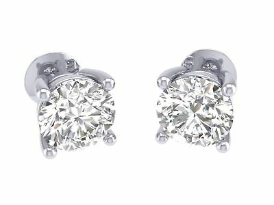 Antique Prong Set 1.01Ctw Real Diamond Jewelry 14K Gold Solitaire Studs Earrings