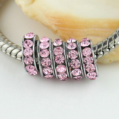 5X PINK CRYSTAL RHINESTONES EUROPEAN 5MM HOLE CHARMS BEADS FIT TO BRACELETS