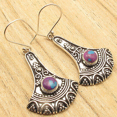 Earrings Jewelry Designer ! PURPLE COPPER TURQUOISE, 925 Silver Plated 2 Inches