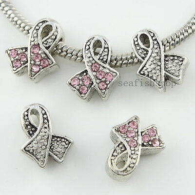 5x Pink Rhinestone Crystal Alloy Ribbon Cancer Awareness Silver Beads Fit Charm