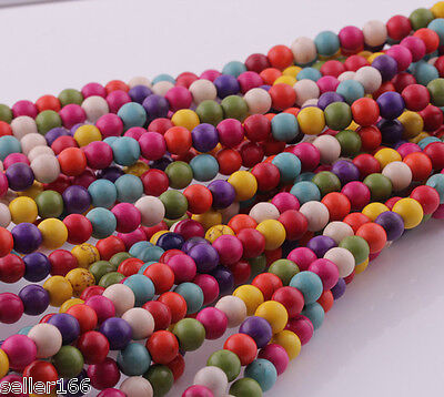 100 Pcs Mixed Color Turquoise Howlite Spacer Loose Beads Findings Charms 6mm