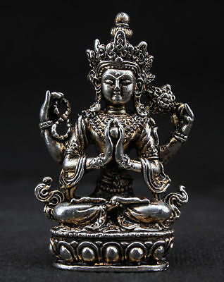 SUPERB TIBET DECORATED HANDWORK OLD MIAO SILVER CARVED BUDDHA WONDERFUL STATUE R