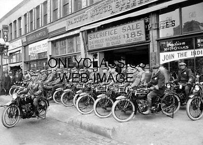 1922 INDIAN MOTORCYCLE LINEUP DEALER SHOWROOM SIGN PHOTO LOS ANGELES CALIFORNIA