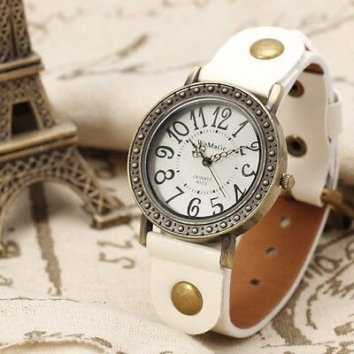FASHION White Leather Vintage Quartz Women Watch Bangle Lady Girl Bracelet Odm