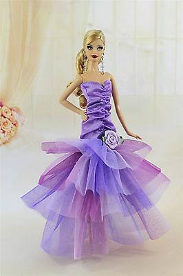 Gorgeous Violet Color Evening Party Dress/Clothes for Barbie Doll Model Muse Y06