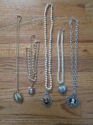 LOT OF 5 VINTAGE CAMEO PENDANT NECKLACE SILVER AND GOLD JEWELRY ALL DIFFERENT #A