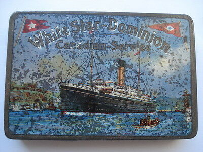 RARE C1909 VINTAGE WHITE STAR-DOMINION CANADIAN SERVICE CIGARETTE TIN