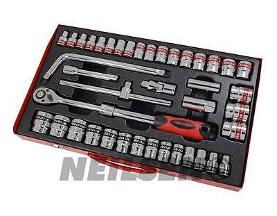 41Pc 1/2 inch Drive SAE and Metric Socket Garage Tool Set Extendable Ratchet New