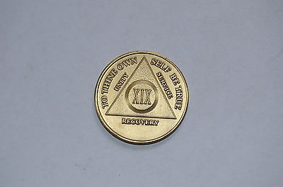 AA Alcoholics Anonymous Recovery Brass Token Medal Chip 19 Year XIX