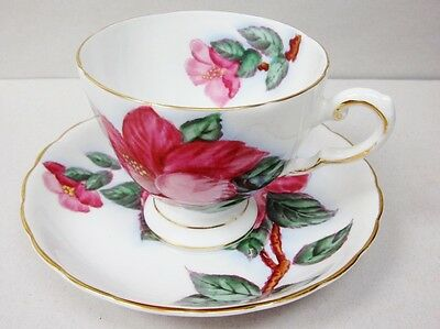 Vintage Tuscan Hand Painted Red Hibiscus Hawaiian Flower Footed Tea Cup Saucer