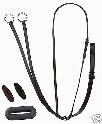 Leather Running Martingale Pony Cob Full Black & Havana