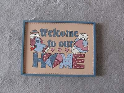 Primitive Wooden Welcome to Our Home Bunny Hanging Sign 2865