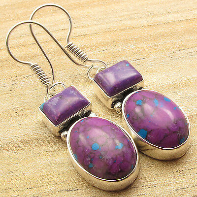 NEW ARRIVAL ! PURPLE COPPER TURQUOISE 2 STONE HOOK Earrings ! 925 Silver Plated