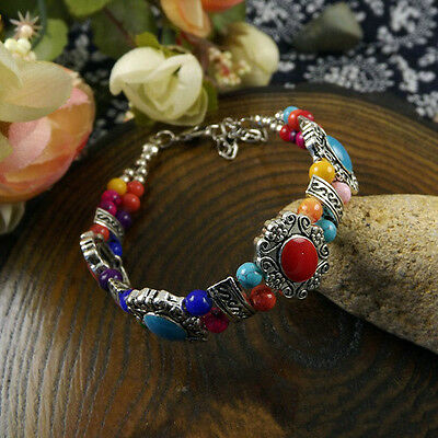HOT Free shipping New Tibet silver multicolor jade turquoise bead bracelet S93