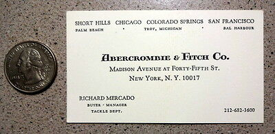 Abercrombie & Fitch 1969 Rare Fishing Tackle Buyers Business Card  Vintage