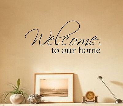 Welcome Home Art Lettering Character Mural Wall Quote Sticker Decal Inspiration