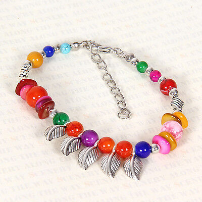 HOT Free shipping New Tibet silver multicolor jade turquoise bead bracelet S131D