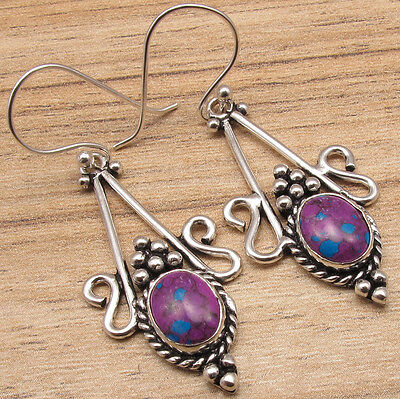 EARRINGS TRENDY DESIGNER JEWELRY !! PURPLE COPPER TURQUOISE ! 925 Silver Plated