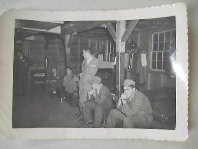WORLD WAR II ERA SOLDIERS INSIDE BARRACKS WITH ICE COLD COCA COLA COOLER