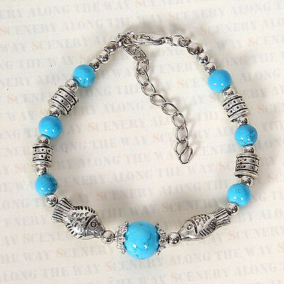 HOT Free shipping New Tibet silver multicolor jade turquoise bead bracelet S124D