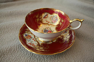 Vintage Aynsley Floral Tea Cup and Saucer With Paramount Marone Pattern, No Tax