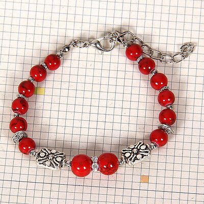 HOT Free shipping New Tibet silver multicolor jade turquoise bead bracelet S117D