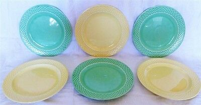 """6 Vintage 1930's W.S. George Green & Yellow Basketweave 9"""" Luncheon Plates Rare"""