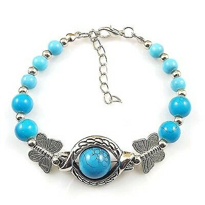 HOT Free shipping New Tibet silver multicolor jade turquoise bead bracelet S98D