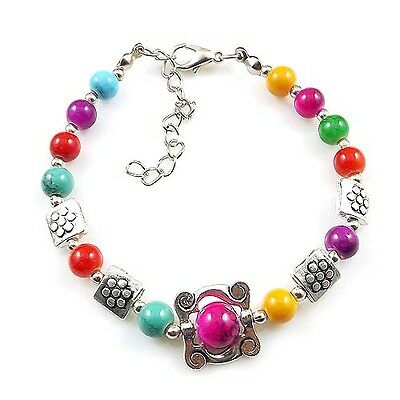 HOT Free shipping New Tibet silver multicolor jade turquoise bead bracelet S97D