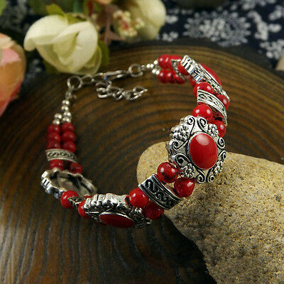 HOT Free shipping New Tibet silver multicolor jade turquoise bead bracelet S92D
