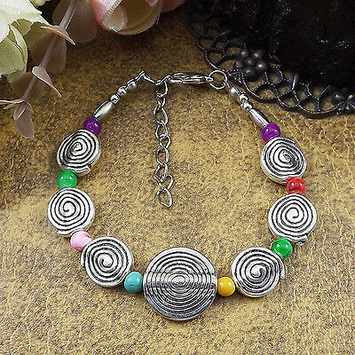 HOT Free shipping New Tibet silver multicolor jade turquoise bead bracelet S89D