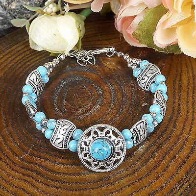 HOT Free shipping New Tibet silver multicolor jade turquoise bead bracelet S80D