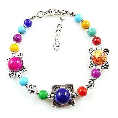 HOT Free shipping New Tibet silver multicolor jade turquoise bead bracelet S74D