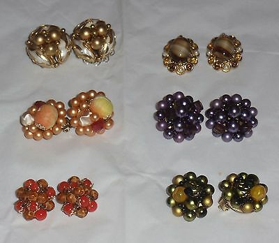 6 Pair Vintage Cluster Bead Earring Lot Japan Germany Gold Orange Purple