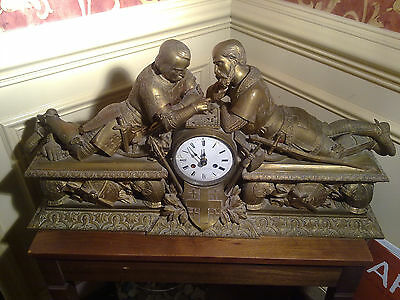 Large (uniquely) bronze mantel clock with knights Templars playing game of chess