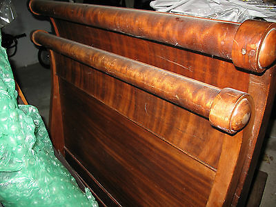 "ANTIQUE WOODEN SLEIGH BED Twin Sized Headboard is 48.5,"" Footboard is 44"" LOVELY"