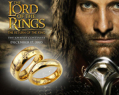 Lord of the Rings Stainless Steel One Ring Bilbo's Hobbit Gold Ring  Size 21mm