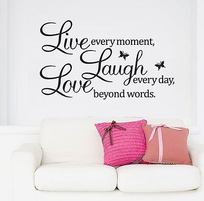 One PVC Letters LIVE LAUGH LOVE Room Mural Wall Art Sticker Decal Home Decor