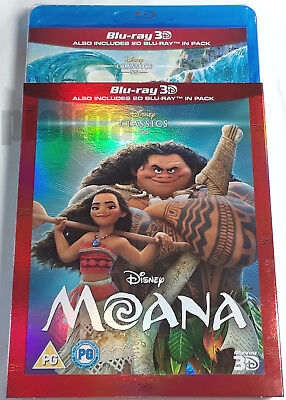 MOANA New 3D (and 2D) BLU-RAY Movie w/ SLIPCOVER 2016 Walt Disney Region-Free