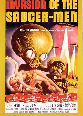 CLASSIC VINTAGE MOVIE POSTER PROMO CARD INVASION OF THE SAUCER-MEN