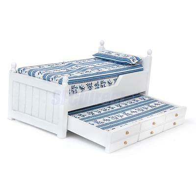 Dollhouse Miniature White Wooden Bed with Trundle Mattress Bedroom Furniture