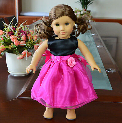 "Doll Clothes fits 18"" American Girl Handmade Rose Red Party Dress"