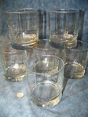 6 Vintage Clear Anchor Hocking Unmarked Essex Pattern Old Fashioned Tumblers