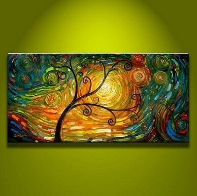 MODERN ABSTRACT HUGE WALL ART OIL PAINTING ON CANVAS Art Tree (Unframed)