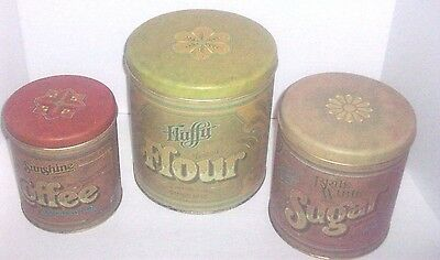 Vintage 1970's Ballonoff 4 pc. Tin Canister Set Flour, Sugar, Coffee & Tea